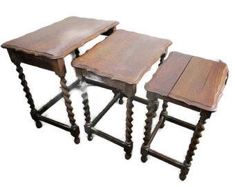 Vintage Barley Twist Nesting Side Coffee Tables set of 3 Gorgeous Hand Carved