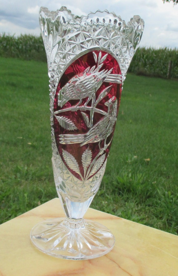 Beautiful Red Crystal Vase Cut To Clear Birds Leaves Stunning Etsy