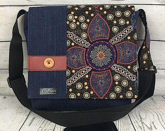 Denim messenger bag mandala pattern, unique bag, cabas bag, messenger bag, besace, tote bag, purse, eco-friendly, mandala bag