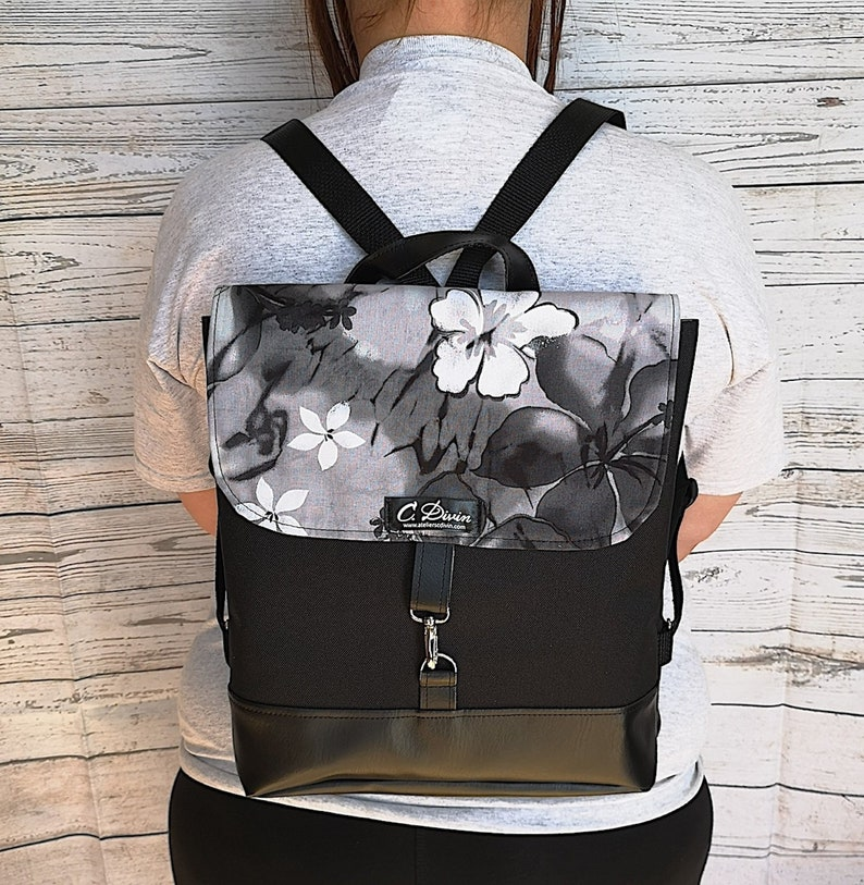 Waterproof Backpack Made Of Leatherette And Canevas Women Etsy