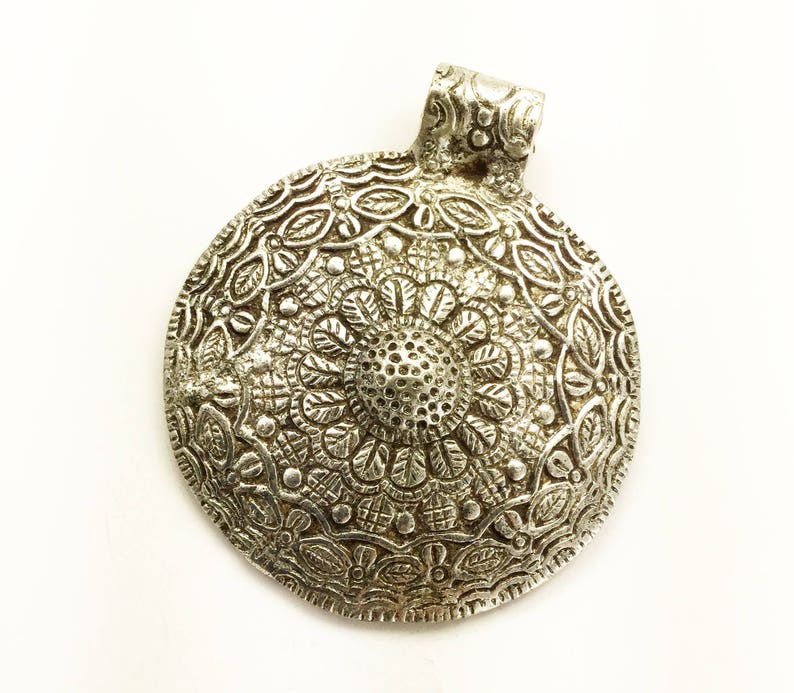 hand forged ethnic design, Large round ethnic white metal pendant very large silver pendant 67x77 mm with bail jewelry making supply