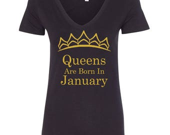 b06364fa4f8 Tiara - Queens Are Born In JANUARY VNECK Tshirt Lady Tee Shirt Best  Birthday Tshirt GOLD Logo Queen Tshirt