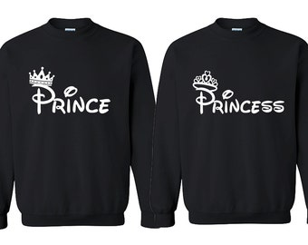 7c2aa0c4d Prince Princess FASHION Couple CREWNECK Sweatshirt Best Couple Sweaters  (BLACKsBLACK)