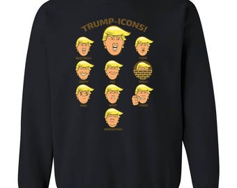 18ac09e0075972 Trump Icons CREWNECK Sweatshirt President Donald Trump Icons Emoji  Sweatshirt Sweater