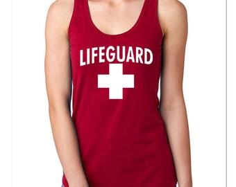 1ed6c67473a15a Lifeguard Woman TANK TOP WHITE Logo Beach Tee Tank Top California Beaches  S.O.S. Life Guard Sos