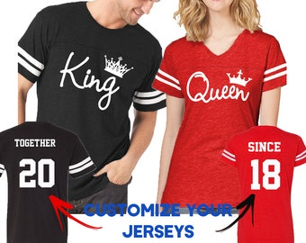 ac1f8912 Couple Matching Shirts King Queen FASHION FOOTBALL JERSEYS Together Since  Customized His and Hers Love Tshirts Tees - Back Front