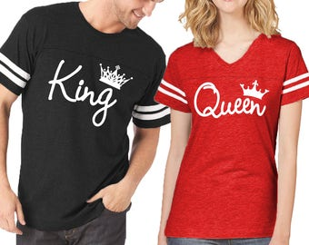 d2265506 Couple Matching Shirts King Queen FASHION FOOTBALL JERSEYS Customized His  and Hers Love Tshirts Tees