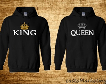 b85f90ab80 King and Queen Soul Mate Couple sweaters Cartoon- Funny Couple Hoodies  Couple Sweatshirts