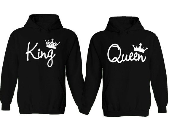 KING AND QUEEN SWEATSHIRT WITH BIG GOLD CROWN HIS AND HERS COUPLES PAIRS PARTNER