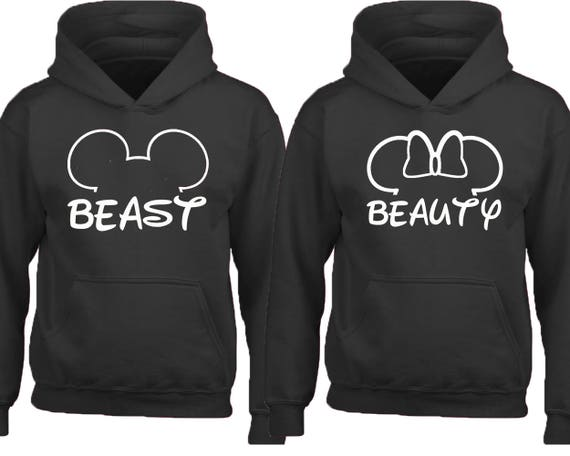 Couple Hoodie Beast Beauty Mouse Ears Hoodie Couple Sweatshirt Etsy