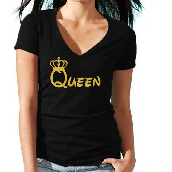 QUEEN TSHIRT GOLD CARTOON LOGO Lady Tee Shirt Best Party Tshirt GOLD Logo
