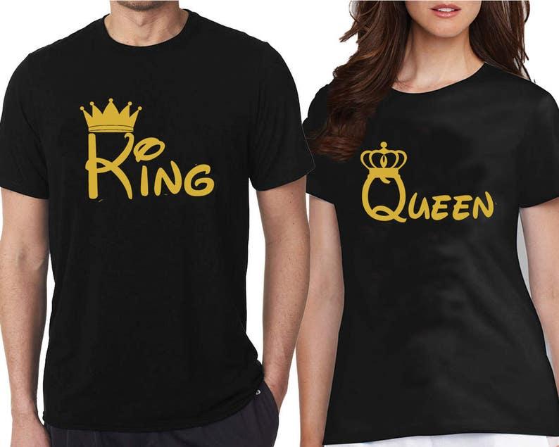 Camisetas Dibujos Animados Rey Reina Oro Par Emparejar Etsy