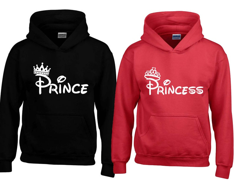 67f54c6e94726 Príncipe princesa moda par HOODIE sudadera príncipe princesa