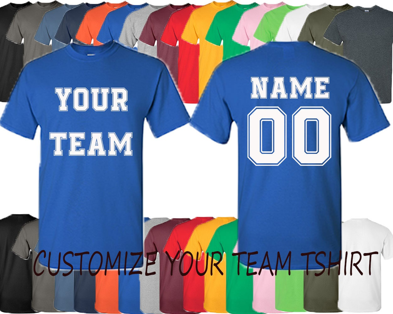 Custumized Personalized Custom Tee Shirt Create Your Team Tee Etsy