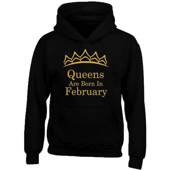 Felpa Queens Con Sono Cappuccio Etsy Diadema Febbraio Nati In UZn7B