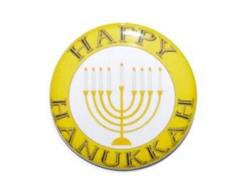 Happy Hanukkah Festival of Lights Chanukah Menorah candles Kislev holiday button Jewish holiday 2 1/4 inch button