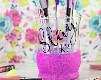 Makeup Brush Holder // Glitter