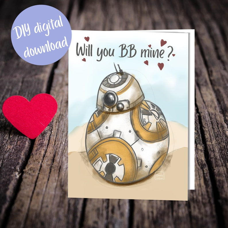 Cute BB8 card / bb mine / cards for him / nerd / star wars image 0
