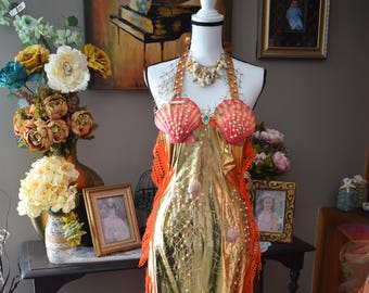 Adult mermaid costume dress, Queen of the Sea costume, Siren dress, ornage and gold laguna mermaid costume dress, real hand painted shells