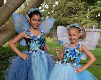 Garden flower Fairy tutu dress,blue fairy tutu dress 3D embroidered flowers,fairy birthday,fairy costume, fairy festival costume dress