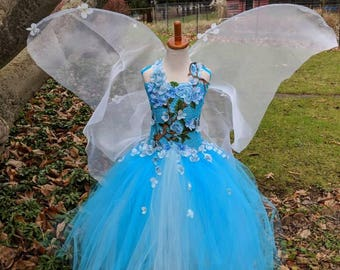 Garden flower Fairy tutu dressblue fairy tutu dress 3D embroidered flowers fairy birthdayfairy costume fairy festival costume dress & Garden fairy costume   Etsy