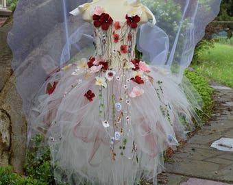 87621b19f Adult Fairy tutu dress,Ivory flower fairy dresscostume, Fairytale fairy  wings,fairy birthday,fairy costume, fairy festival costume dress