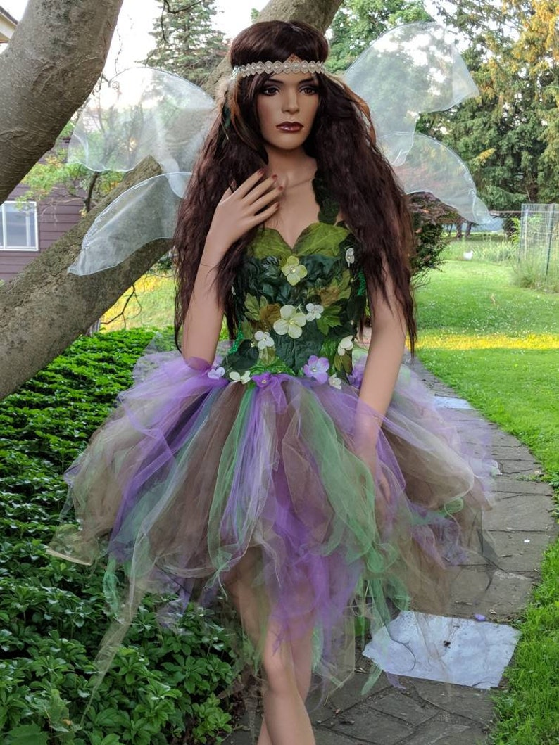 fb946c788cf Adult Woodland fairy costume dress,Woodland fairy dress with green foliage  leaves,fairy festival costume, size XXS- XL,also large sizes