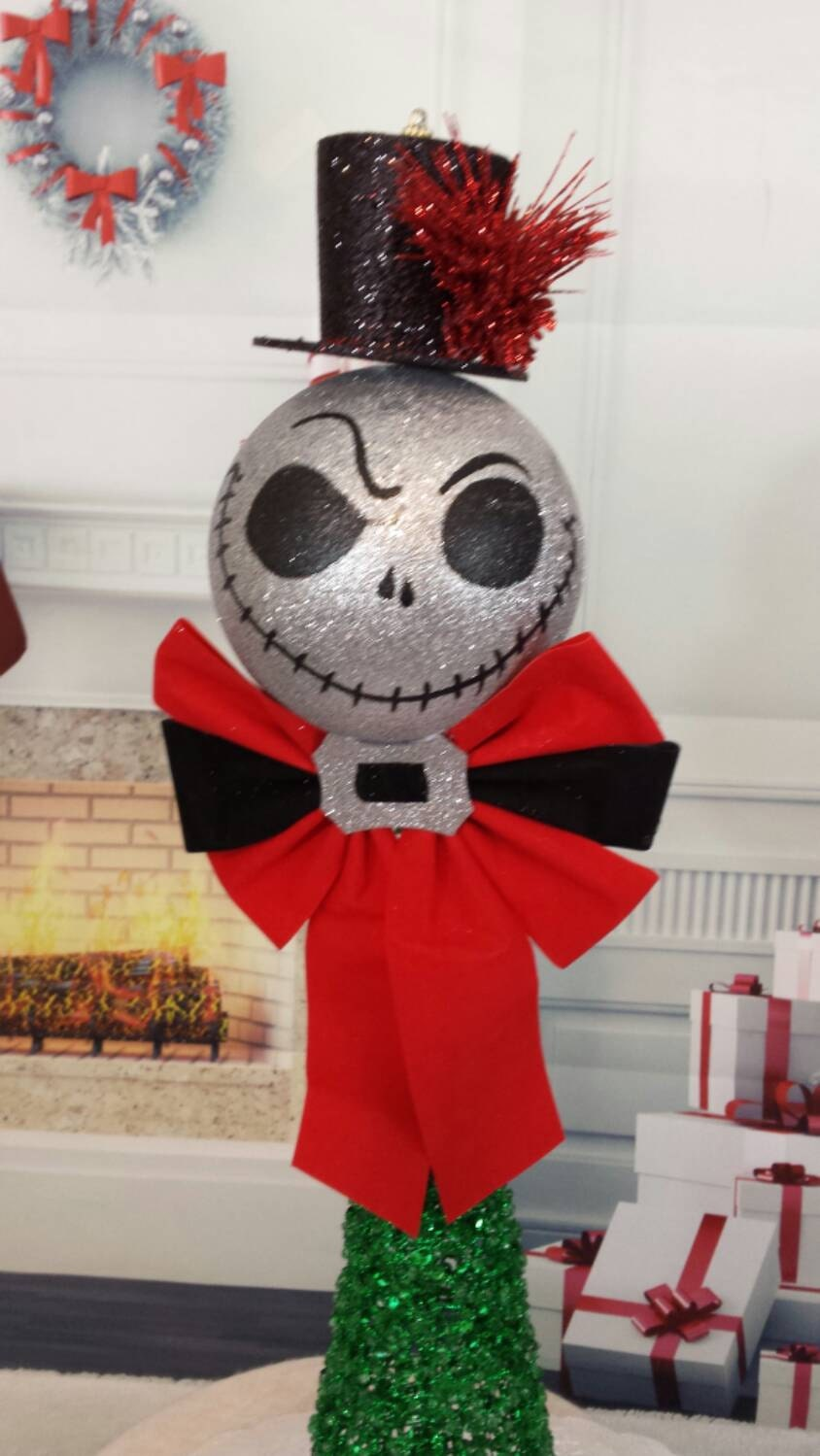 Nightmare before Christmas tree topper Jack glitter head with | Etsy