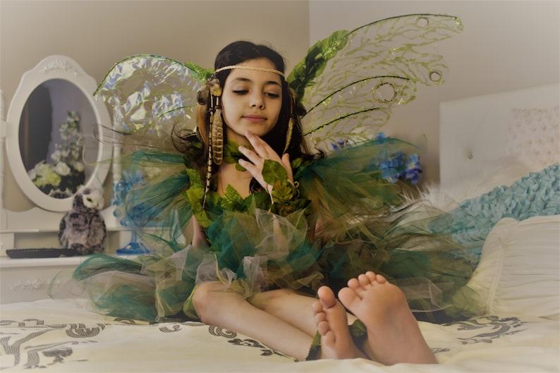 Woodland fairy dress fairy birthday dress fairy costume,Woodland fairy dress,Green foliage leaf fairy costume fairy festival costume