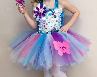 Candy land Lalaloopsy tutu dress, pageant, OOC, theme wear,birthday party dress size 0-12 years