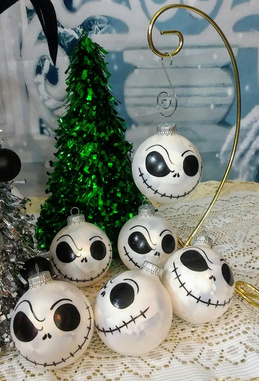 6 Nightmare before Christmas tree ornaments hand painted | Etsy
