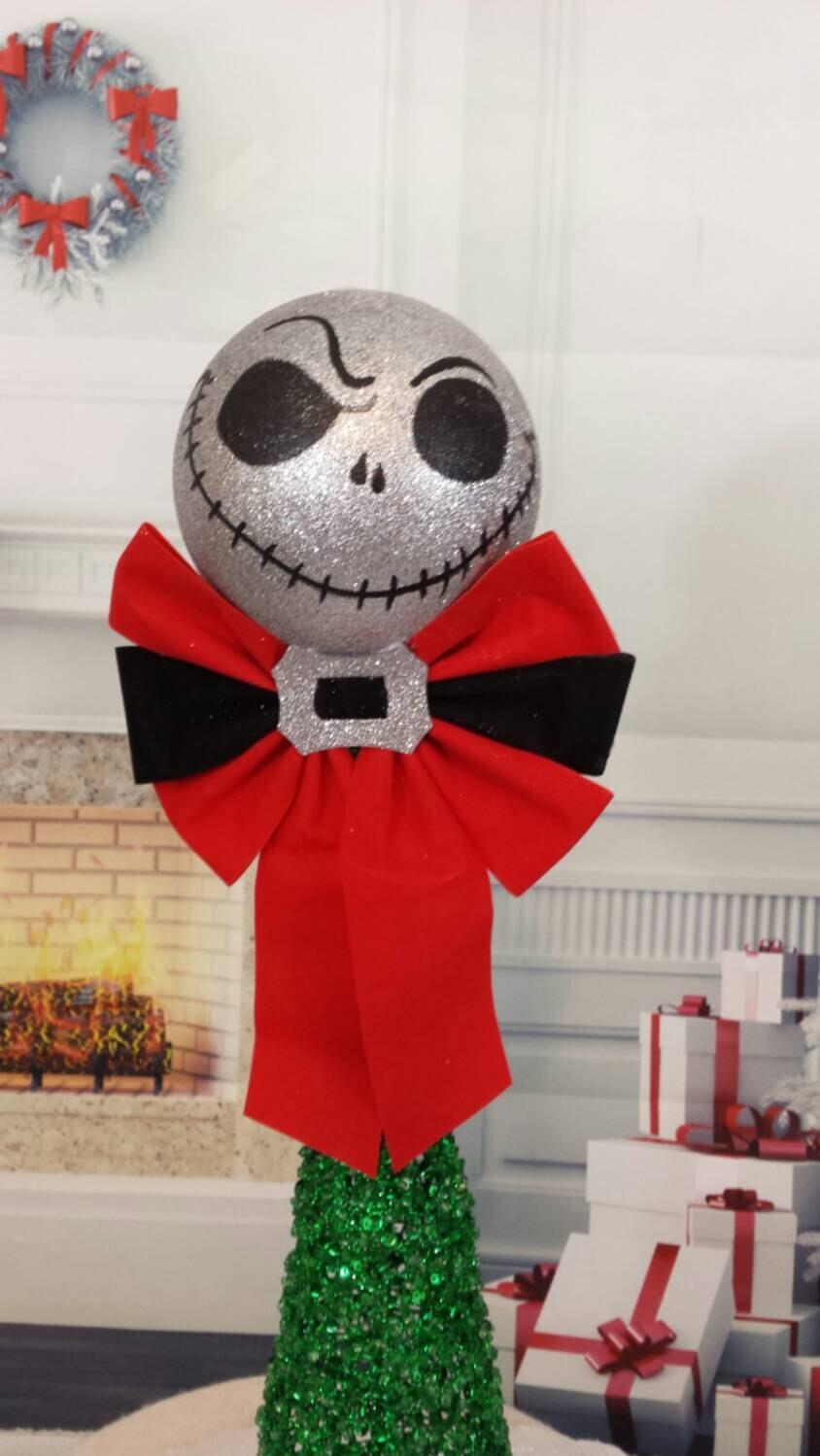 Nightmare before Christmas tree topper Jack glitter head | Etsy