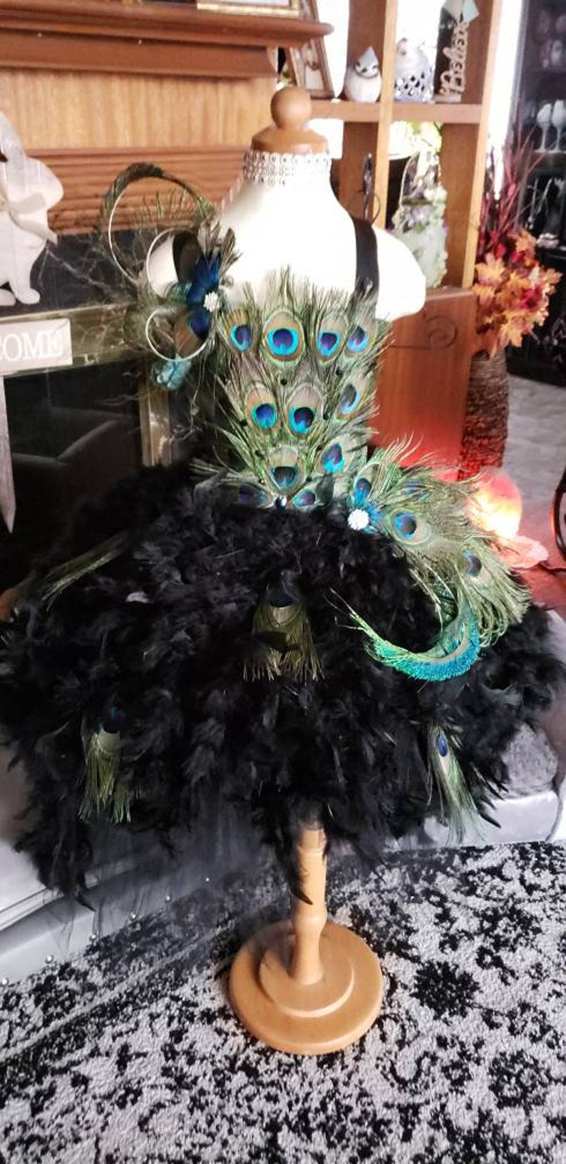 ade2c2a42 Peacock feather tutu dress feather dress pageant | Etsy