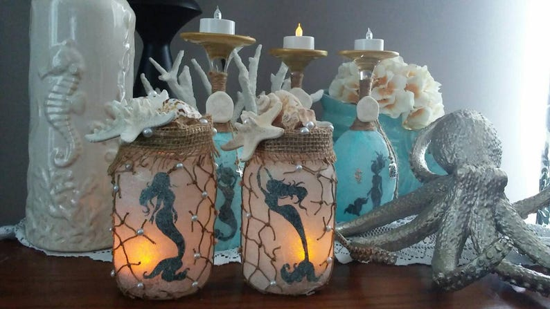 Mermaid Lantern Mermaid Nightlight Mermaid Home Decorhand Etsy
