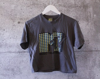 Authentic MTV Music logo Cropped T-Shirt in Dark Gray