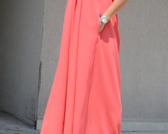 Bridesmaid Comfortable Gown, Long Halter Oversize Gown, Bridesmaid Coral Maxi Dress, Romantic Floor Gown, Special Occasion Orange Gown Dress