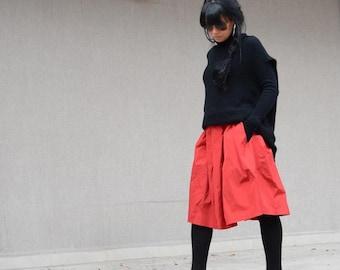 Midi skirt, high waisted skirt, summer winter skirt, skirt with pockets, oversize skirt, evening maxi skirt, taffeta maxi skirt, midi skirt