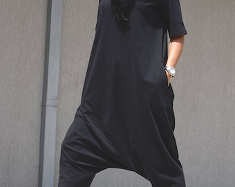 Floor Length Overall with Mid Sleeves, Loose Black Harem Overalls with V neck, Two Sided Large Size Everyday Overall, Comfy Womens Overalls