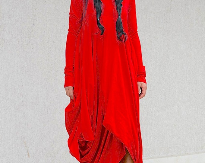 Featured listing image: Red Maternity Maxi Dress with Long Sleeves, Dubai Caftan Loose Dress, Maternity Summer Dress, Comfortable Everyday Abaya Dress, Dubai Caftan