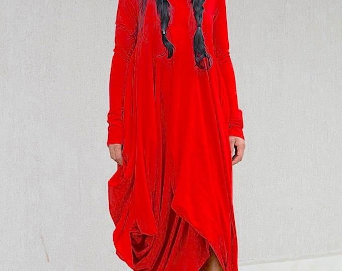 Featured listing image: Red Maternity Maxi Dress with Long Sleeves, Dubai Caftan Loose Dress, Maternity Summer Dress, Comfortable Everyday Avaya Dress, Dubai Caftan