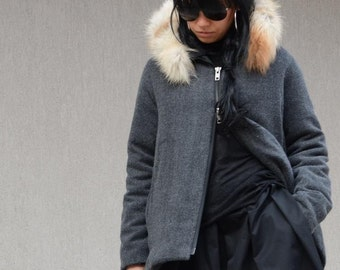 Grey Waterproof Jacket with Fox Fur Hoodie, High Neck Short Coat, Trending Plus Size Clothing, Maternity Coat Rain Jacket Oversize Gray Coat