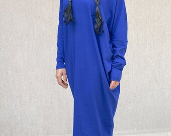 Floor Length Abaya with Long Sleeves, Extravagant Maxi Street Dress, Asymmetric Kaftan with Drop Shoulder Sleeve, Everyday Oversized Dress