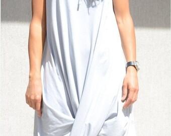 Hooded Ivory Maxi Dress, Draped Cotton Knee Length Dress, Asymmetric Summer Dress, Flattering Loose Dress Comfortable Sleeveless Cream Dress