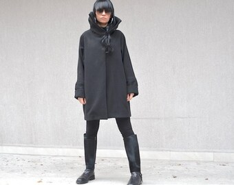 High fashion black coat, asymmetrical women's outerwear, party coat, high neck collar, plus size women coat, women's sizes XS - XL