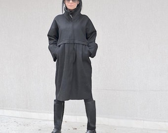 Handmade Stylish Wool Coat for Fashion Lady, Unique Gray Coat, Winter Cozy Coat, Loose Fit, High Neck Coat, Trending Now, Winter Collection