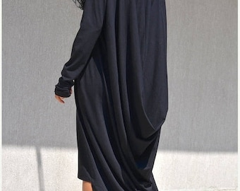Extra Long Sleeves Caftan, High Low Maternity Dress, Asymmetric Comfortable Dress, Draped,Black Maternity Abaya, Plus Size Clothing Maxi Top