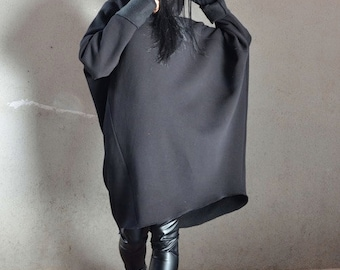 Dolman Sleeve Oversized Sweater, Black Extravagant Tunic, Maternity Loose Sweater, Custom Made Oversize Black Top, Extravagant Hooded Coat