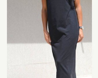 Long High Neck Black Comfortable Dress, Floor Length Pocket Dress, Loose Fitting Evening Dress, Maxi Prom Gown, Maternity Black Comfy Gown