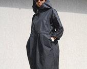 Evening Women Waterproof Jacket with Hood, Black Plus Size Swing Coat with Pockets, Zipped Oversize Winter Coat, Trending Plus Size Clothing