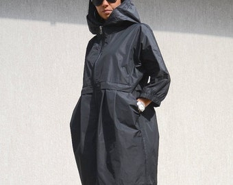 Evening Women Waterproof Jacket with Hood, Black Plus Size Swing Coat with Pockets, Zipped Oversize Winter Coat, Trending Plus Size Clothing